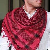 Cotton scarf, 'Red Houndstooth' - Men's Fair Trade Handwoven 100% Cotton Red and Black Pattern