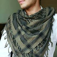 Men's cotton scarf, 'Olive Houndstooth' - Men's Cotton Patterned Scarf