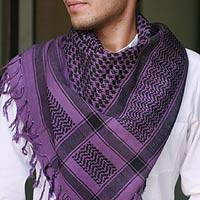 Cotton scarf, 'Violet Houndstooth' - Cotton scarf