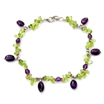 Peridot and amethyst anklet, 'Forest Fiesta' - Peridot and amethyst anklet