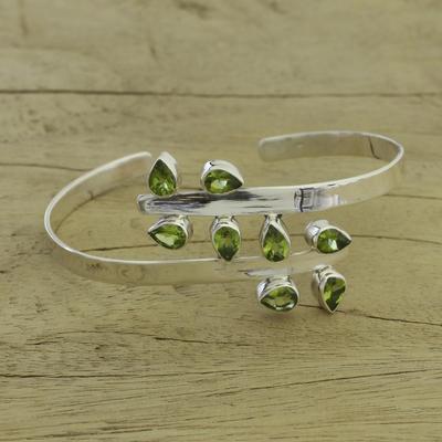 Peridot cuff bracelet, 'Forest Fern' - Sterling Silver Cuff Peridot Bracelet Modern Jewelry