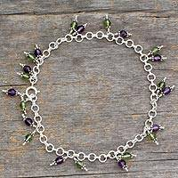 Peridot and amethyst anklet, 'Tropical Tango' - Sterling Silver Beaded Amethyst and Peridot Anklet