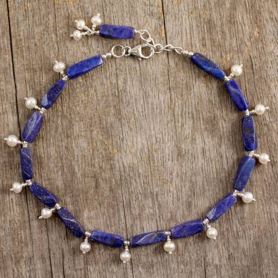 Pearl and lapis lazuli anklet, 'Midnight Blue' - Sterling Silver Lapis Lazuli and Pearl Anklet from India