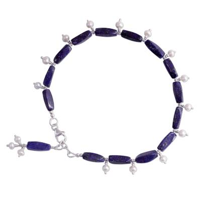 Sterling Silver Lapis Lazuli and Pearl Anklet from India