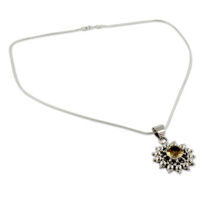 Citrine Necklace Artisan Sterling Silver Jewelry from India