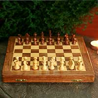 Wood chess set, 'On the Go' (medium) - Handcrafted Wood Brown Chess Set Chess Game (Medium)