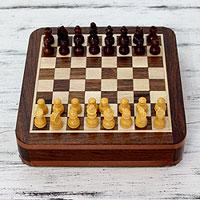 Wood travel chess set,