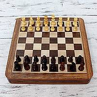 Wood travel chess set, 'Challenger's Match' - Wood travel chess set