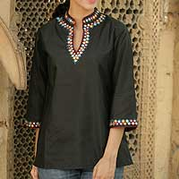 Silk tunic, 'Midnight Bliss' - Hand Made Silk Tunic Top with Embroidery