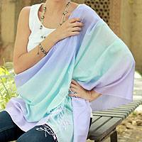 Silk and wool shawl, 'Magic Colors' - Collectible Silk and Wool Shawl from India