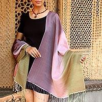 Silk and wool shawl, 'Natural Radiance' - Silk Wool Blend Wrap Hand Loomed Shawl
