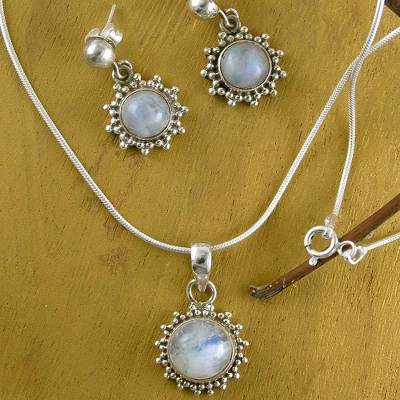 Moonstone jewelry set, 'Goddess' - Good Fortune Sterling Silver Pendant Moonstone jewellery Set