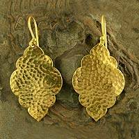 Gold vermeil dangle earrings, 'Clouds' - Handcrafted Earrings in Gold Vermeil Jewelry