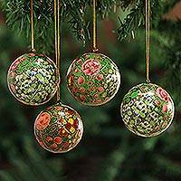 Ornaments, 'Holiday Exuberance' (set of 4)