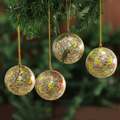 Ornaments, 'Holiday Heralds' (set of 4) - Handmade Papier Mache Multicolor Bird Ornaments (Set of 4)