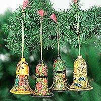 Wood ornaments, 'Holiday Melody' (large, set of 4) - Floral Wood Ornaments (Set of 4)