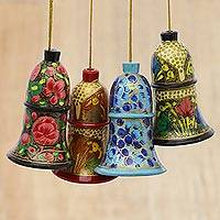 Wood ornaments, 'Holiday Harmony' (set of 4)