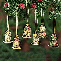 Wood ornaments, 'Holiday Medley' (set of 6) - Bell Ornaments Artisan Crafted in India (set of 6)