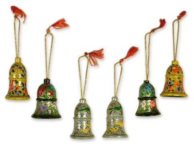 Bell Ornaments Artisan Crafted in India (set of 6)