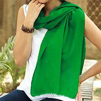 Wool scarf, 'Smart in Emerald' - Artisan Crafted Wool Scarf from India