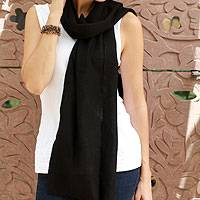 Wool scarf, 'Smart in Ebony' - Wool scarf
