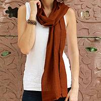 Wool scarf, 'Smart in Chocolate Brown' - Wool scarf