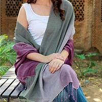 Silk and wool shawl, 'Iris' - Shawl Handwoven Silk Wool Wrap