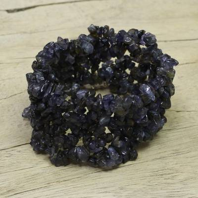 Iolite stretch bracelet, 'Blue Shadows' - Artisan Crafted Stretch Iolite Bracelet