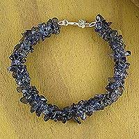 Iolite beaded bracelet, 'Blueberry Summer'