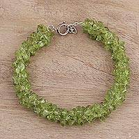 Peridot beaded bracelet, 'Summer Field' - Handcrafted Peridot Bracelet from India