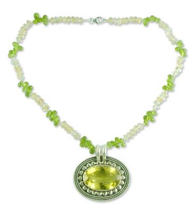 Peridot and Citrine Silver Pendant Necklace