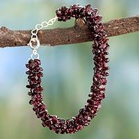 Garnet beaded bracelet, 'Love's Fortunes' - Garnet beaded bracelet