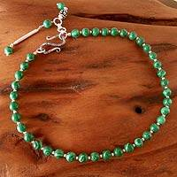 Malachite anklet, 'Song of Life' - Fair Trade Jewelry Women's Beaded Malachite Anklet