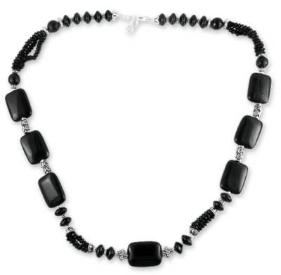 Long Onyx Beaded Necklace