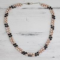 Pearl and garnet beaded necklace, Graceful Rose