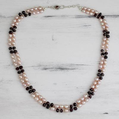 Pearl and garnet beaded necklace, 'Graceful Rose' - Pearl and garnet beaded necklace