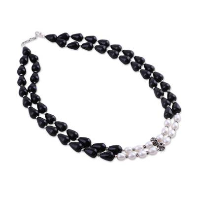 Pearl and onyx strand necklace