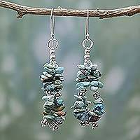 Turquoise waterfall earrings, 'Rejoice' - Turquoise Earrings on Sterling Silver Indian Beaded Jewelry