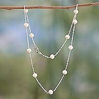 Pearl station necklace, 'Jaipur Moons' - Handcrafted Bridal Sterling Silver Station Pearl Necklace