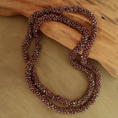 Garnet long beaded necklace, 'Love's Fortunes' - Beaded Garnet Necklace
