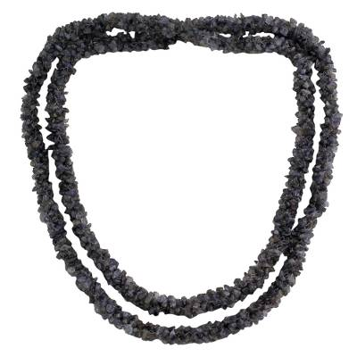 Iolite long beaded necklace
