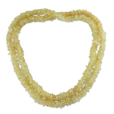 Fair Trade Beaded Yellow Citrine Long 47-Inch Necklace