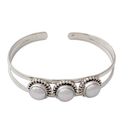 Hand Made Indian Sterling Silver Cuff Pearl Bracelet