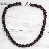 Garnet beaded necklace, 'Love's Fortunes' - Indian Artisan Crafted Beaded Garnet Necklace