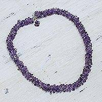 Amethyst beaded necklace, 'Lovely Lilacs' - Handcrafted Beaded Amethyst Necklace