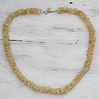 Citrine beaded necklace, 'Lemon Sugar' (India)