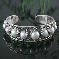 Pearl cuff bracelet, 'Nostalgic Chic'
