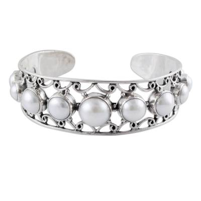 Pearl and Sterling Silver Cuff Bracelet from India