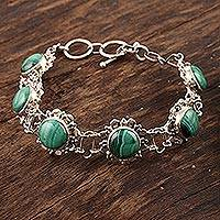 Malachite flower bracelet, 'Mystical Blooms'