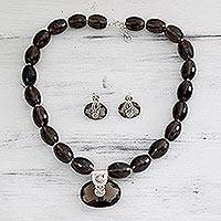 Smoky quartz jewelry set, 'Mystery' - Sterling Silver and Smoky Quartz jewellery Set